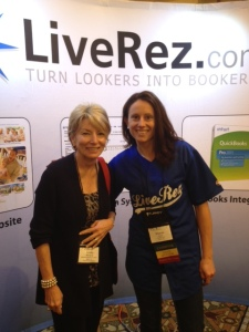 Beach Properties owner Linda Moloney with LiveRez director of partner success Sharon Clark at 2012 VRMA National Conference.