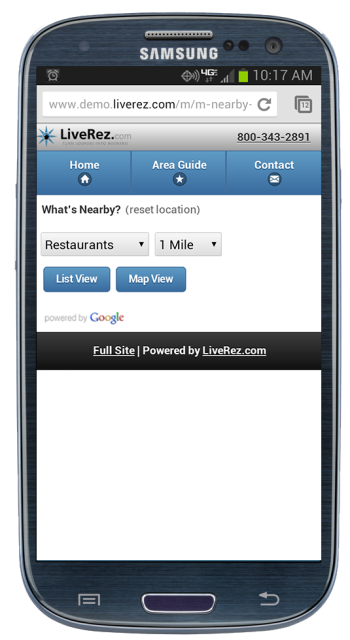 Google Places for Mobile Websites for Vacation Rentals