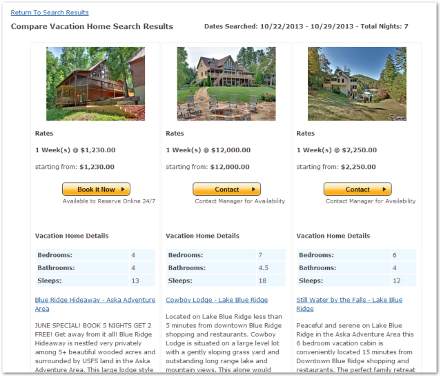 Compare Vacation Properties
