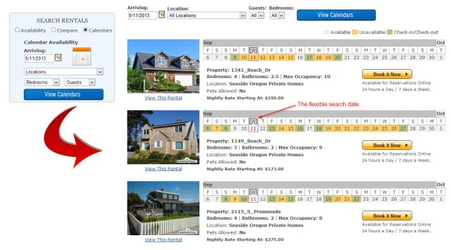 Calendar Search Results - Vacation Rental Software