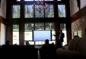 LiveRez Director of Sales and Marketing Tyler Hurst presents at the company's recent Park City Summit, held in an amazing 8,000 square foot luxury estate.