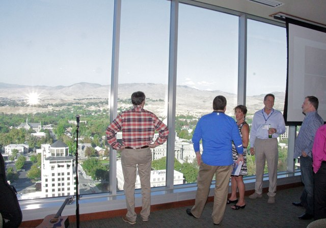 The Monday evening reception was held at the top floor of Zions Bank Building, the largest building in all of Idaho.