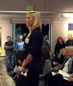 LiveRez's Brittany Funk speaks at a civic meeting in San Diego on the topic of vacation rental regulations.